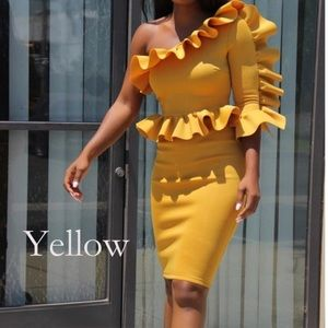 Yellow Cold Shoulder Ruffled Sleeve Mini Dress